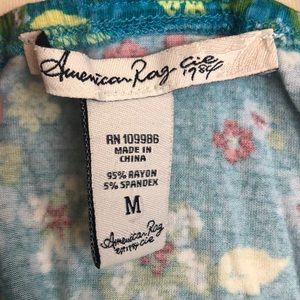 American Rag Tops - American Rag Tank, Blue Floral Print, Medium